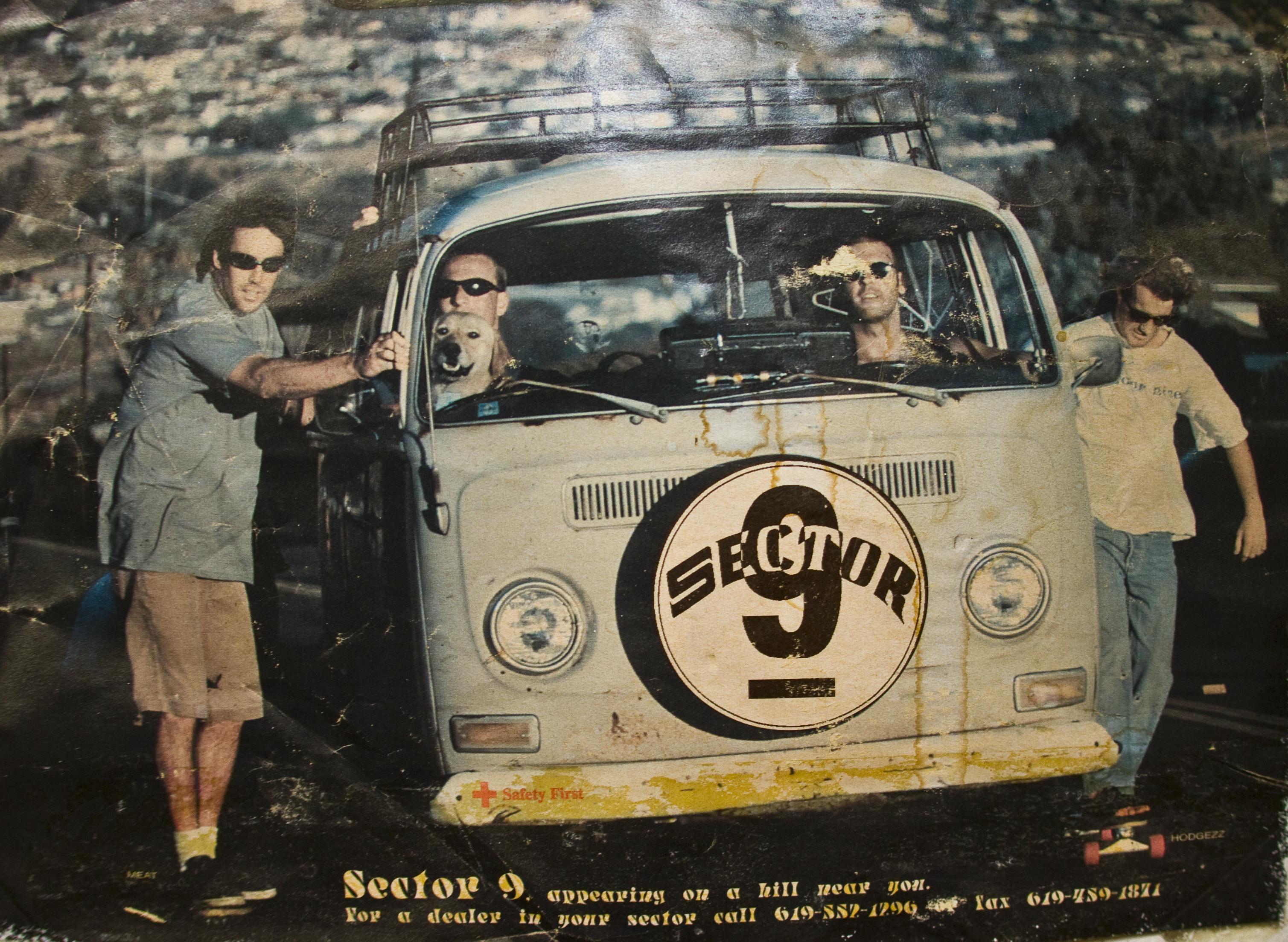 Это один из первых рекламных плакатов Sector9. На фото основатели компании